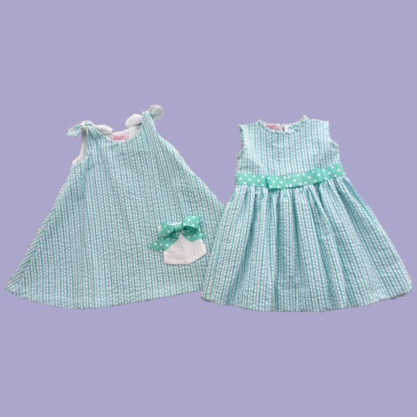 Summertime Seersucker Set in Mint Green for Big Sis and Little Sis