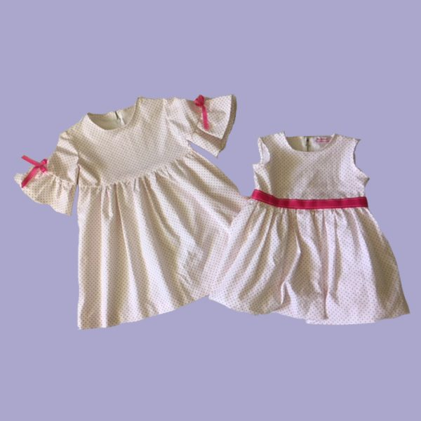 White and Raspberry Pink Dots Dress and Bubble Set (Big Sister, Little Sister Collection)